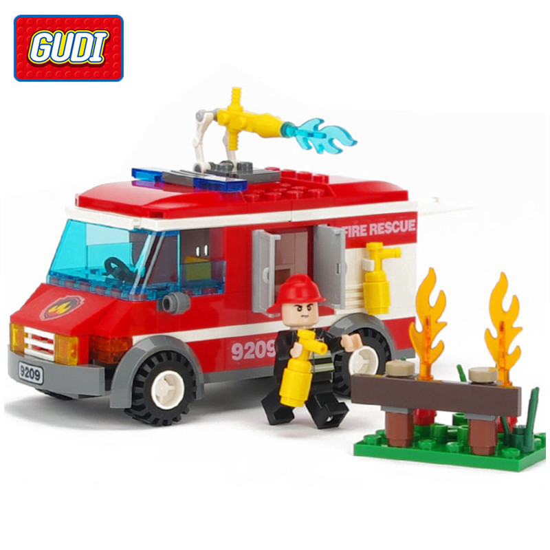 GUDI 156Pcs City Fire Rescue Truck Building Blocks Sets Assembled Action Figure Bricks Playmobil Toys For Children