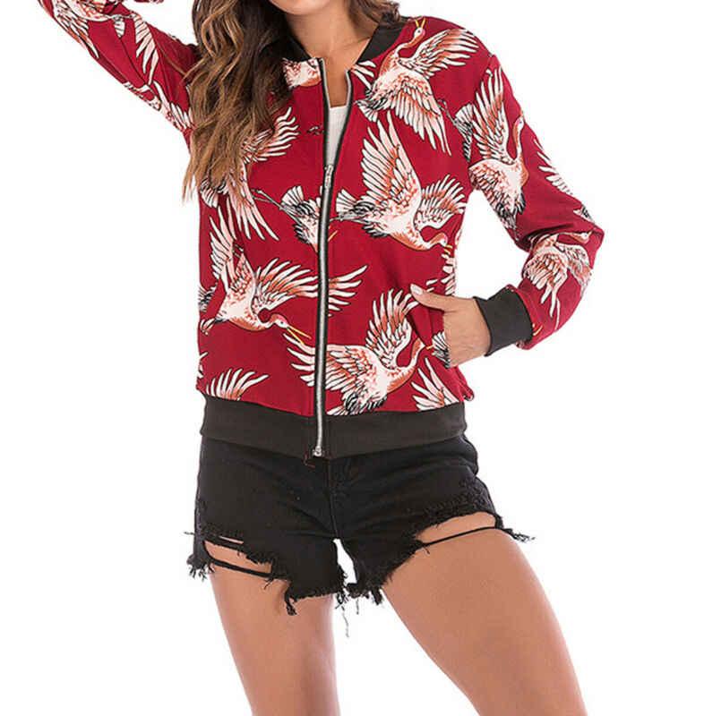 Pop Oversize Das Mulheres À Moda Voando Guindaste Floral Zipper Bomber Jacket Roupas Casaco Casuais Outwear Elegante Macio Roupas de Outono