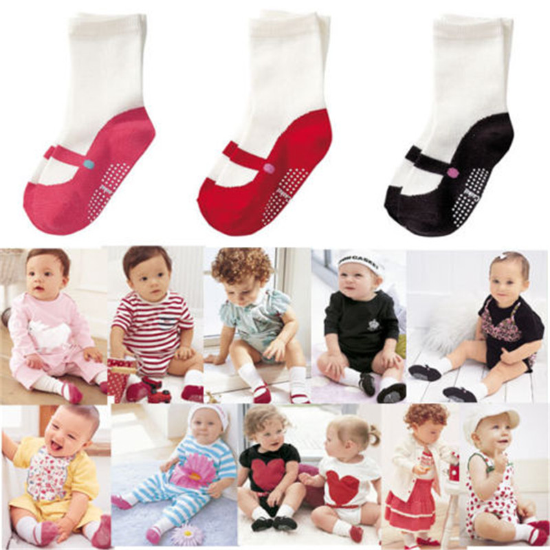Durable 1 Pair Infant Toddler Anti-slip Shoes Cotton Socks Cute Baby Kids Unisex Boy Girl No Slip Warm Socks 6-24M 3 Colors Hot
