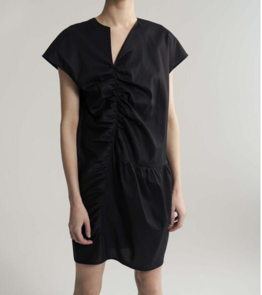 WISHBOP Priverno sukienka czarny lyocell bawełna asymetryczna mini sukienka dekolt spotkań pognieciony przodu kobieta moda w Suknie od Odzież damska na  Grupa 1