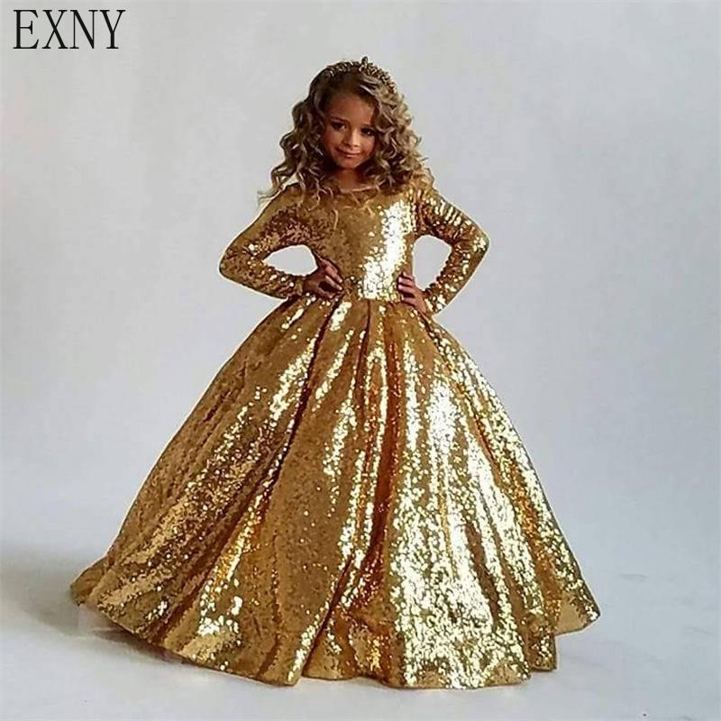 EXNY 2019 Sparking Gold   Flower     Girl     Dresses   Ball Gown Boat Neck Long Sleeves Floor Length Sequins   Girls   Prom Party Gown Custom
