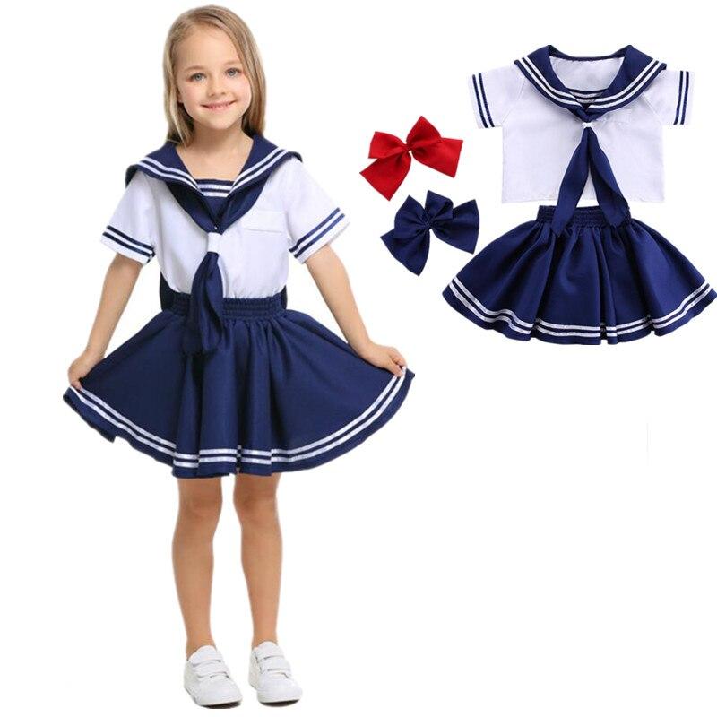 Kids Girls White Blue Short Sleeve Navy Sailor Cosplay Costumes Halloween Costume for Boy Girls Dress Uniform