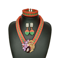 Classic Nigerian Wedding Beads Jewelry Set Green And Red African Beads Wedding Jewellery Set Bridal Jewelry Beaded Necklace 2018