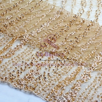 La Belleza 1 yard beige and other 6 colors Super heavy handmade beaded bridal lace fabric Vedio for beige color