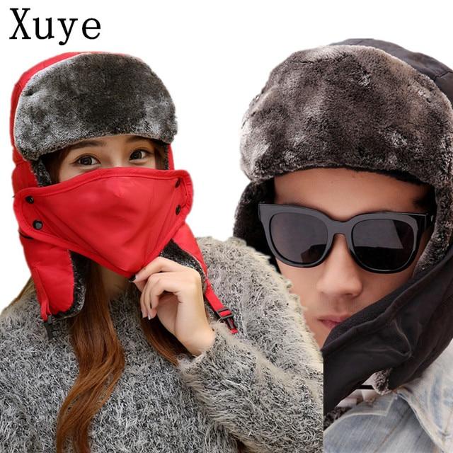 e920d87931f XUYE winter themal thicken Bomber Hats cashmere warm cycling cap men head  ear warmer headwear hat women caps with mouth mask