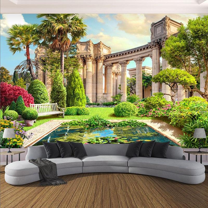 Papier peint 3D personnalisé   Colonne Rome, paysage de jardin, Photo murale, décoration intérieure de la maison, salon, chambre à coucher, papier Mural 3D
