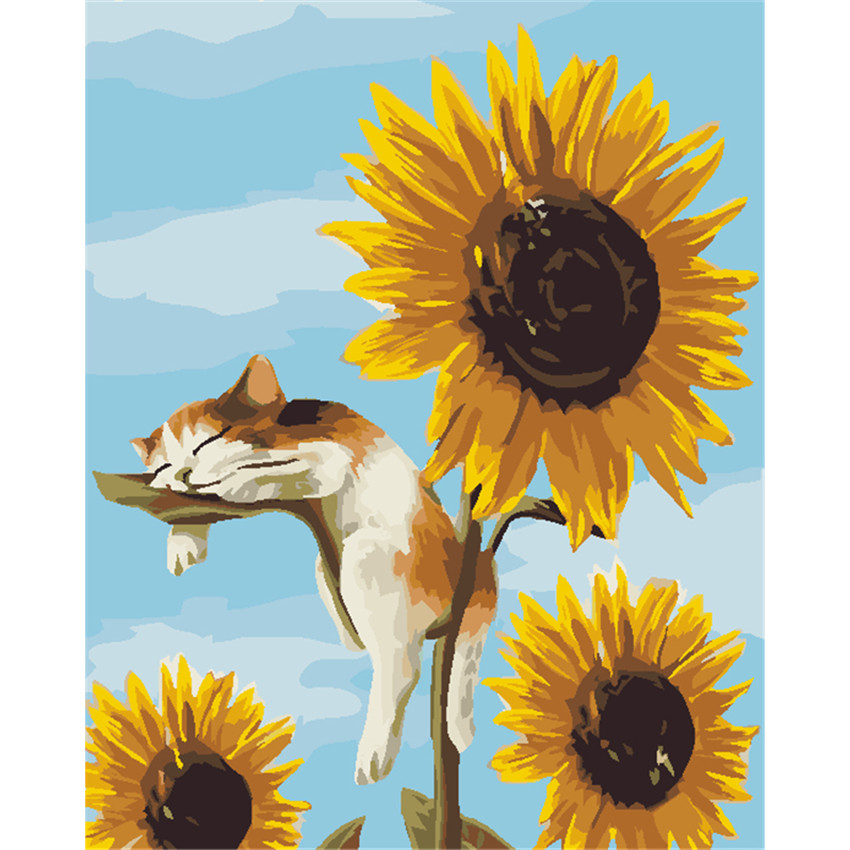 WEEN Sleeping Cat Painting by number DIY Handpainted Oil Sunflower Wall Pictures Drawing by number For Living Room Decor Gift