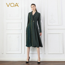 VOA Heavy Silk Army Green Trench Coat Women Cool Military Ov