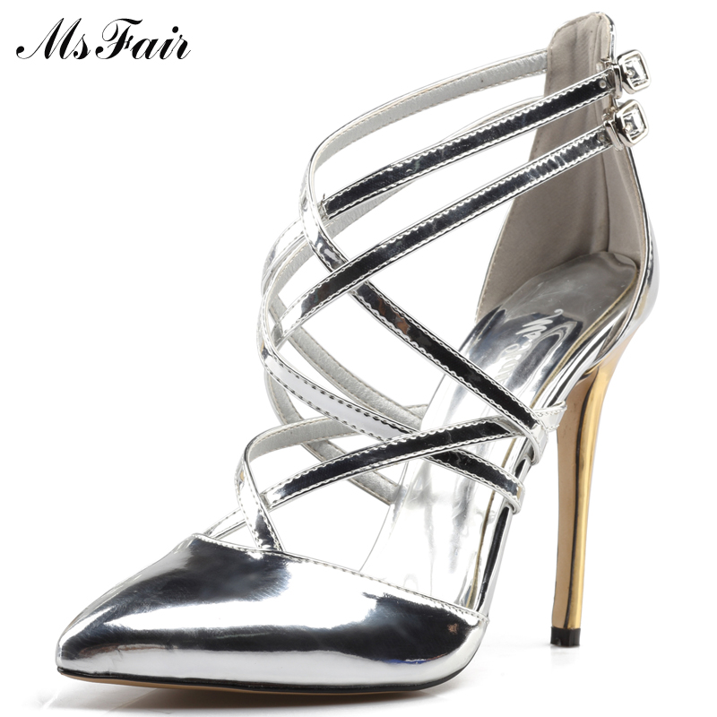 MSFAIR Fashion Buckle Gladiator Women Sandals Thin Heels Pointed Toe High Heels 2017 Rome Ladies Sandals Casual Sandal Brand 2015 summer new rome sweety shining buckle belt women sandal high heels weomen sandal breathable comfort women sandals e937