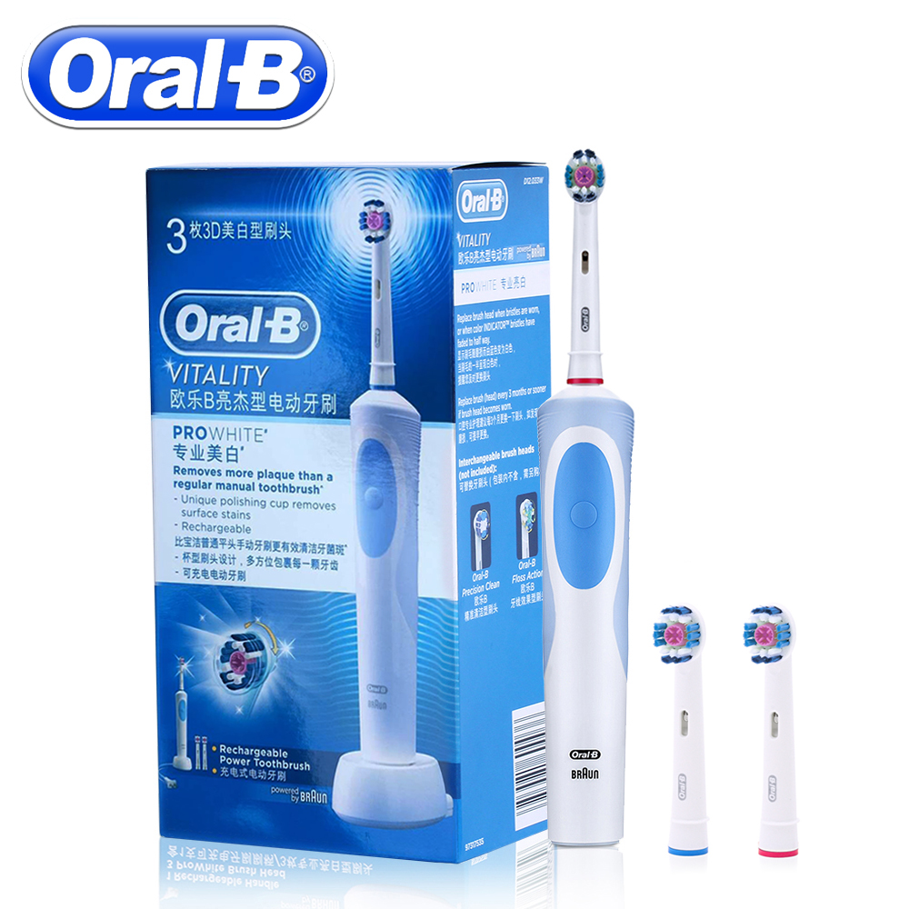 Oral B Ultrasonic Electric Toothbrush Rechargeable With 3 Brush Heads ProWhite Vitality D12013W Sonic Tooth Brush Teeth image