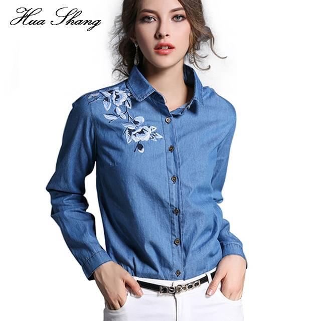 0fdefdeca0 Fashion Autumn Women Shirt Long Sleeve Embroidery Floral Blue Denim Shirt  Women Work Wear Office Blouse