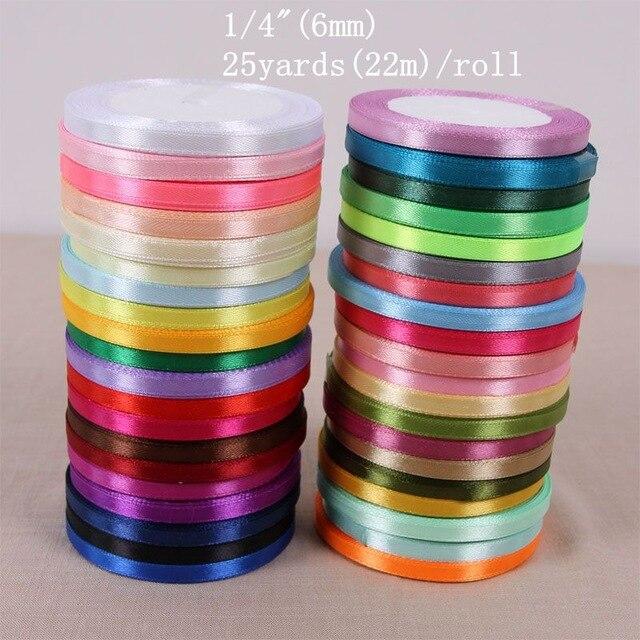 Атласная лента для упаковки подарков, 6 мм, 1/4 дюйма, 25 ярдов/рулон