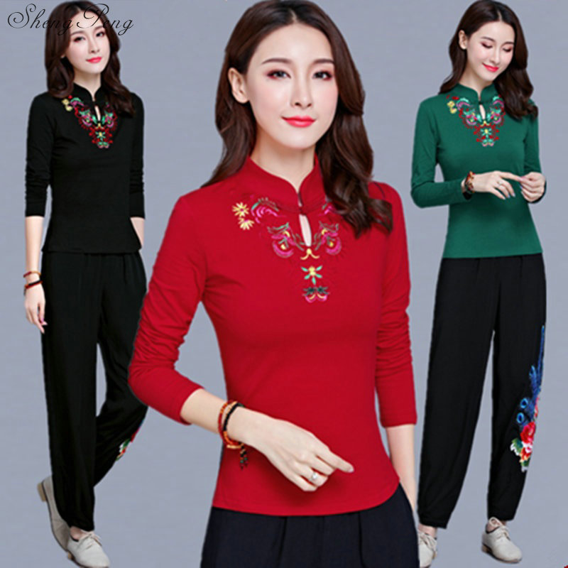 Cheongsam Top Traditional Chinese Clothes For Women Long Sleeve Plus Size 5XL Shirt Cotton Vintage Clothing Top Tee Blouse V1134