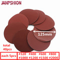 JANPSHION 40pc red round Sandpaper Self-adhesive Sanding paper for Sander 5 125mm Grits 320/400/600/800/1000/1200/1500/2000