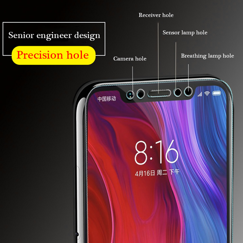 2pcs lot 9H Full Tempered Glass for Xiaomi Mi 8 explore glass Screen Protector Glass For Xiaomi Mi 8SE Glass Protective Film in Phone Screen Protectors from Cellphones Telecommunications