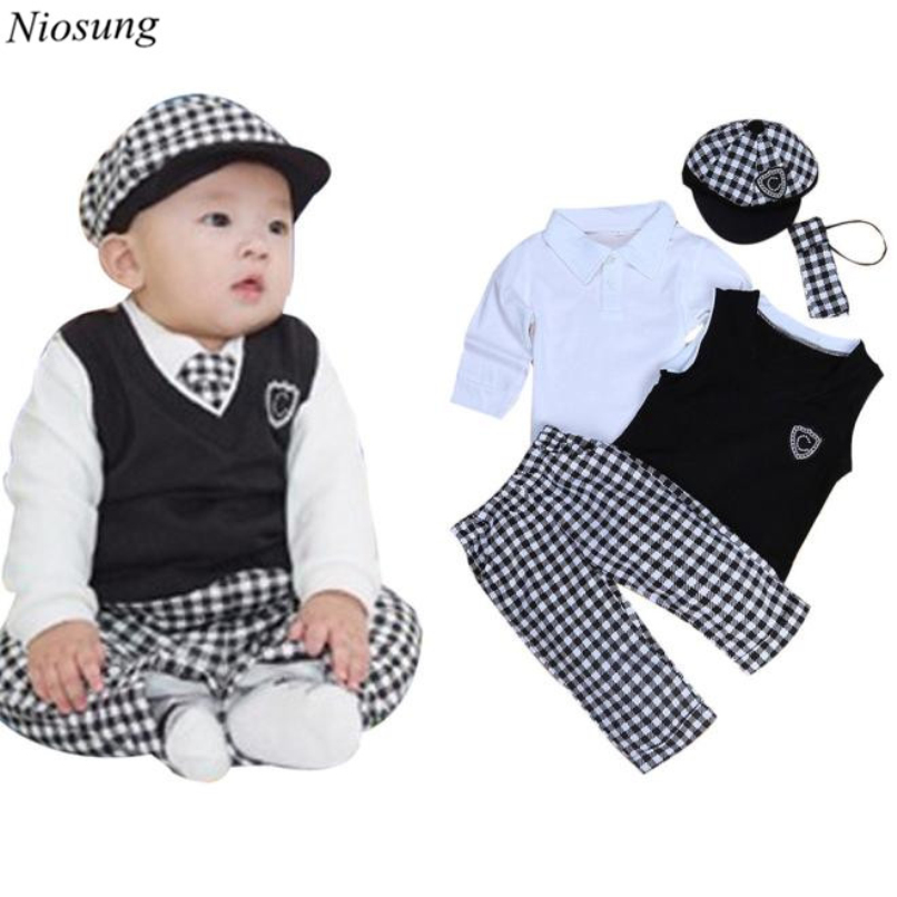 5pcs Kids Baby Boys Long Sleeve T-Shirt Tops+Vest+Necktie+Hat+Trousers Set Clothes Outfits Child Suit wholesale s