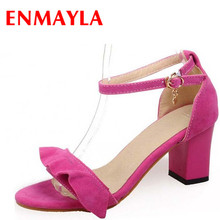 цена ENMAYER Gladiator Ankle straps high heels Open Toe summer shoes for women Big size 34-43 Black Pink Purple Blue dress sandals онлайн в 2017 году