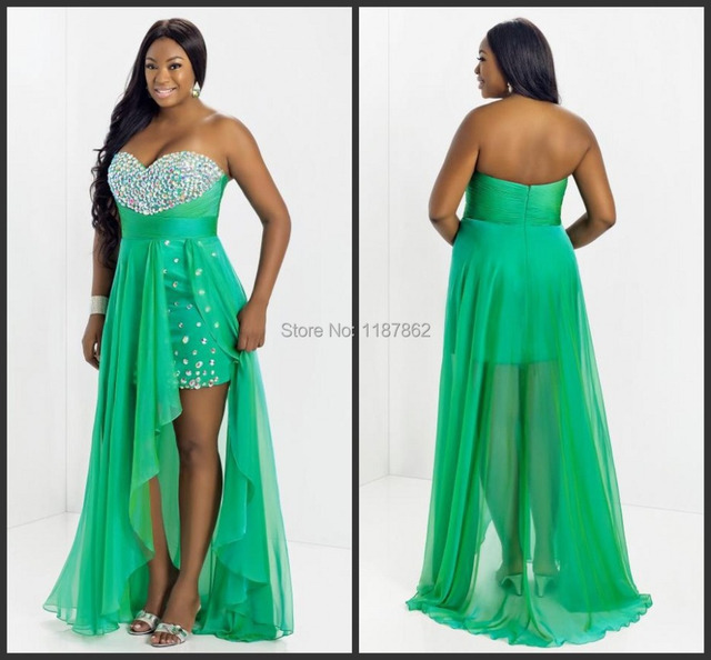 Psd 0007 Spring Green High Low Plus Size Evening Dress 2014 Elegant