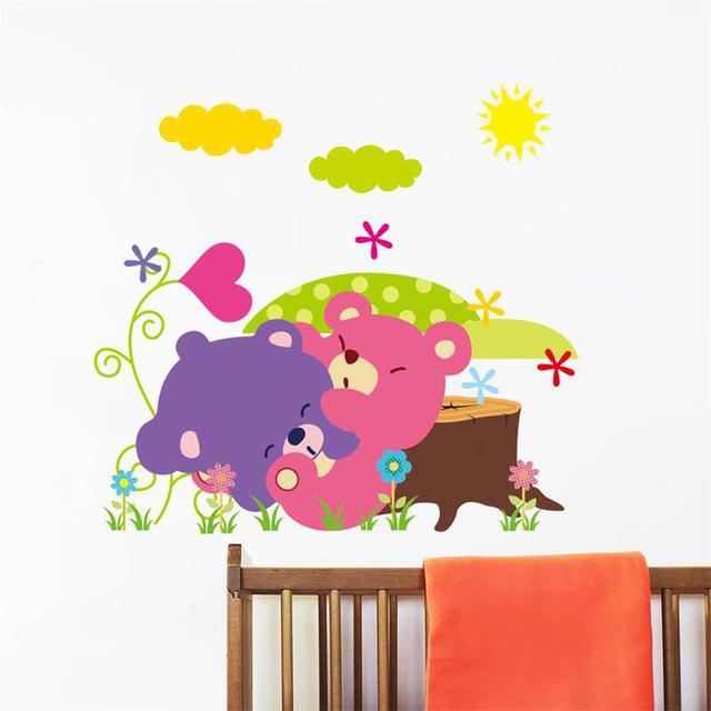Cute Bears Jungle Wall Stickers Home Decoration Bedroom Animals Wall Decals  Mural Art Kids Rooms Cartoon