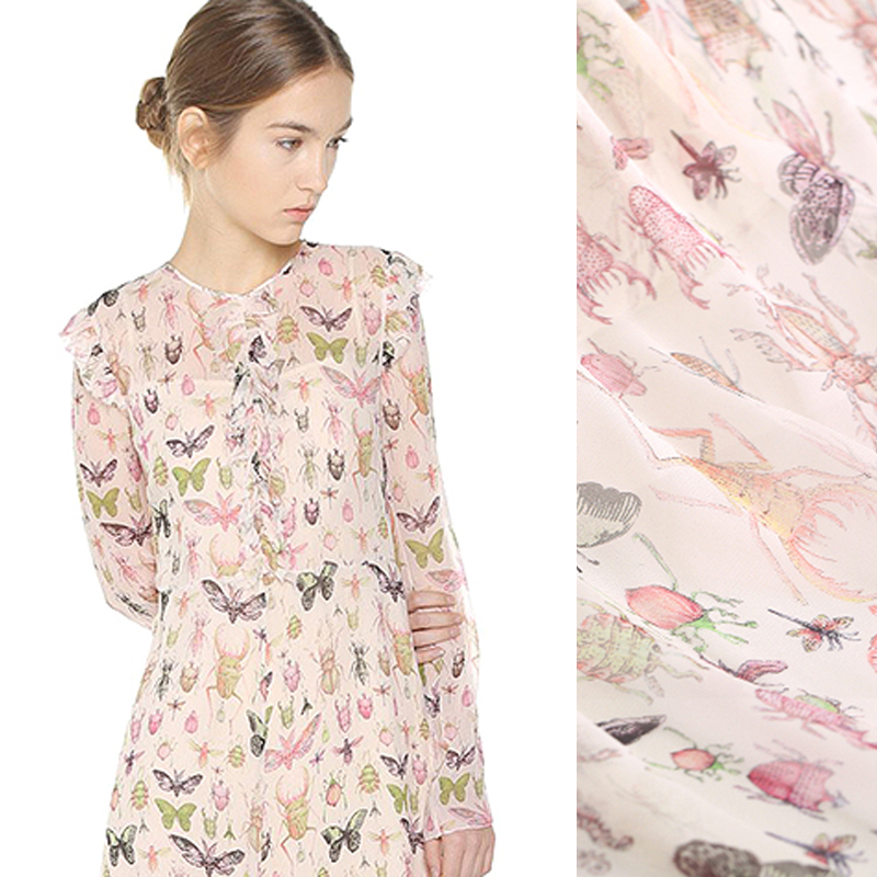 c1a8ae1cd046 140CM Wide 8MM Insect and Butterfly Print Thin Soft Silk Chiffon Fabric for Summer  Long and Short Dress Shirt Scarf DE735
