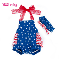 American Independence Day Strap Jumpsuit for Little Girls Baby Celebration Party Blue Romper with Five-pointed Star Printed New