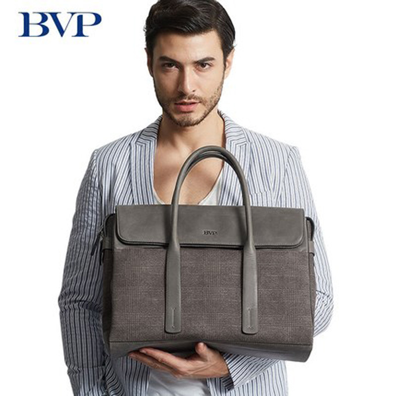 High Quality BVP Brand Genuine Leather Man Business Briefcase Multi-capacity Laptop Bag Men Leisure Gray Plaid Travel Bag J50