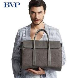 Hohe Qualität BVP Marke Echtes Leder Mann Business Aktentasche Multi-kapazität Laptop-tasche Männer Freizeit Grau Plaid Reisetasche J50