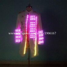 Модные яркие подсветкой Костюмы для бальных танцев костюм Непродуваемая одежда свет хост одежда Костюмы событие для вечеринок