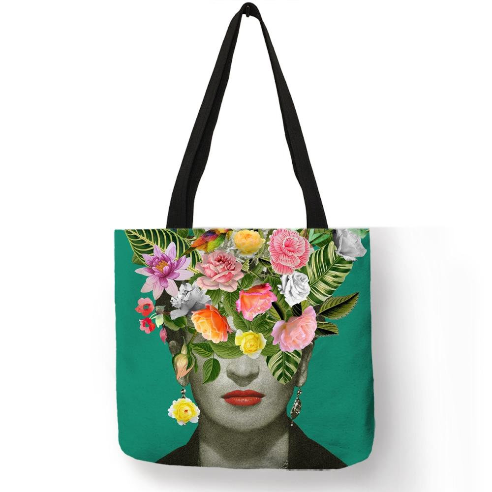 Einzigartige Frida Kahlo Tote Tasche Leinen Reusable Shopping Taschen Mode Frauen Handtaschen Totes Reisen Strand Taschen Dropshipping Unterstützung