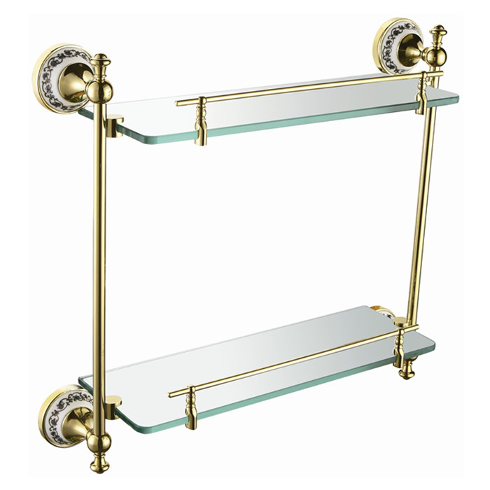 Free shipping Bathroom Accessories Solid Brass Golden Finish With Tempered Glass,Double Glass Shelf bathroom shelfDB012K-G bathroom accessories solid brass golden finish with tempered glass crystal double glass shelf bathroom shelf free shipping 6314