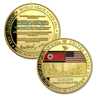 50pcs/lot US Presidential Trump Korean World Peace Talks Singapore Summit with Consensus Content Commemorative Coin Collectibles