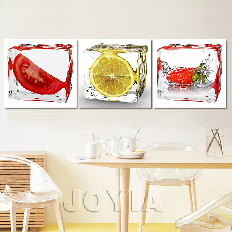 3 piece modern wall canvas painting ice fruit art pictures for Kitchen decoration piece