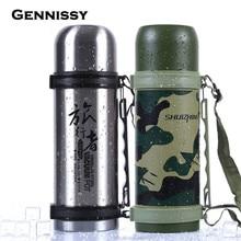 GENNISSY 1200 ML Outdoor Sport Wasserflasche Zyklus Armee Wasserkocher Edelstahl Camouflage Military Drink Camp Bike Werkzeuge