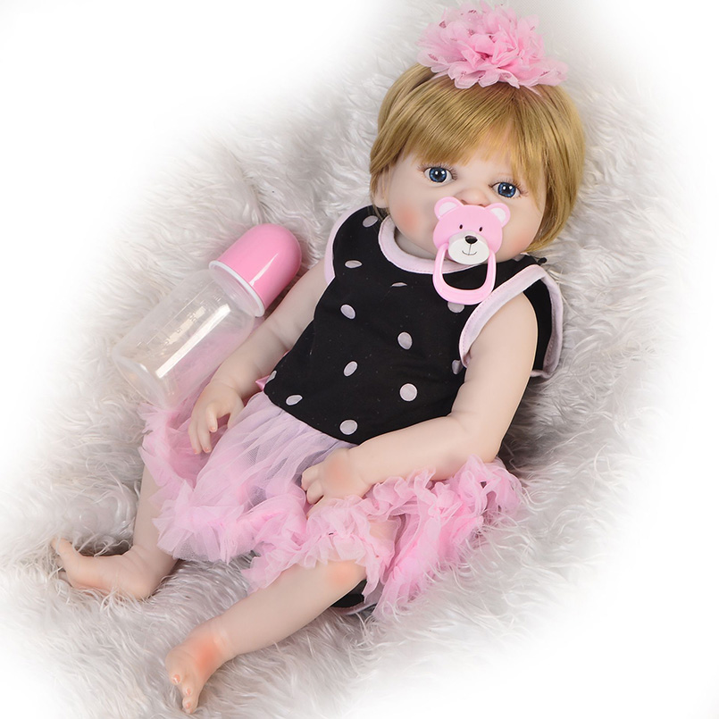 46-48 cm reborn bébé poupée vinyle pleine silicone reborn fille bébé vivant jouets poupées cri bébés bébé poupée bambin jouets pour enfants