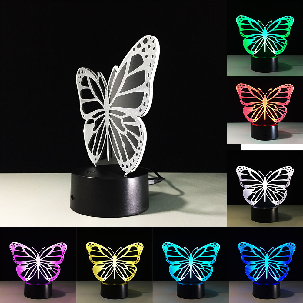 3D Luce di Notte Animale Gatto Farfalla Variabile Mood Lamp LED 7 colore Illusione Lampada Da Tavolo Per La Decorazione Domestica con Remote Touch Interruttore