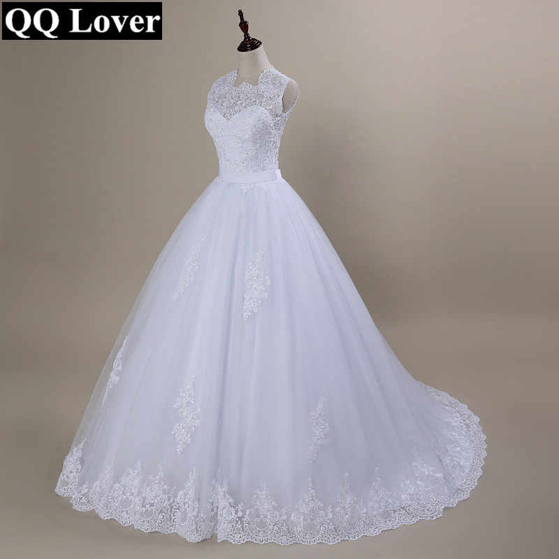 QQ Lover 2019 Custom Made Vestido De Noiva  A-Line See Through Back Sexy Wedding Dresses With Train Bridal Gown