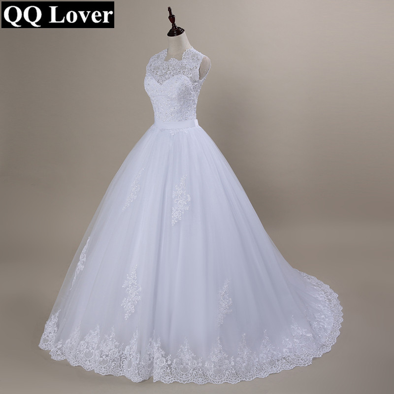 QQ Amant 2019 Custom Made Robe De Noiva A-ligne See Through Retour Sexy Robes De Mariée Avec Le Train Robe De Mariée