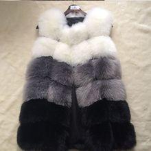 Жилет из искусственного лисьего меха для женщин, Зимняя мода, средней длины, искусственный Лисий мех, Жилеты для женщин, теплые пальто из искусственного лисьего меха для женщин