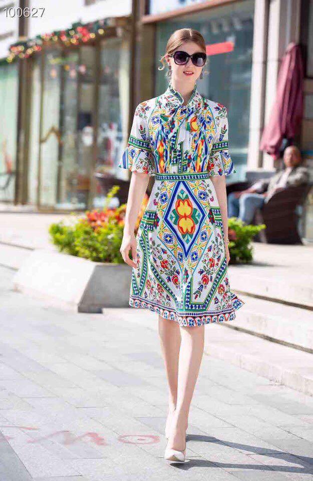 Style Hfa0244 Luxe Mode Printemps Nouvelle Partie Qualité Femmes De Supérieure Design Européenne 2019 Robe qUSO6Z