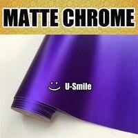 Premium Matte Satin Chrome Violet Vinyl Wrap Film Roll Sticker Bubble Free Car Decal