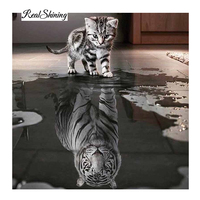 Full 3D Diy Diamond Painting Square Rhinestone Cross Stitch Mosaic Diamond Embroidery Cat Tiger Crafts Resin