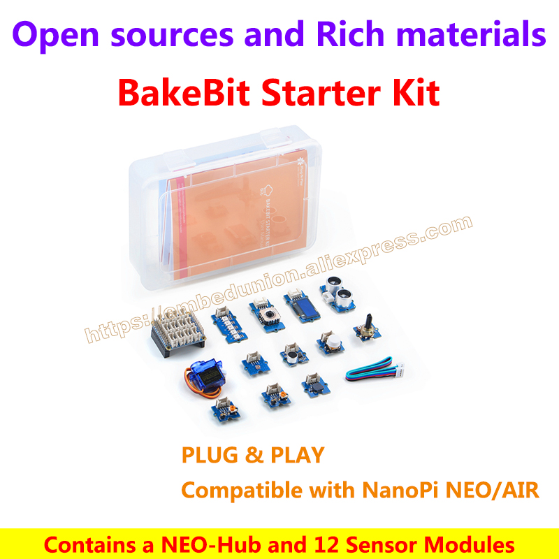 BakeBit Starter Kit,contains a NEO-Hub and 12 Sensor modules,Plug and Play,Compatible with NanoPi NEO/NanoPi NEO AIR