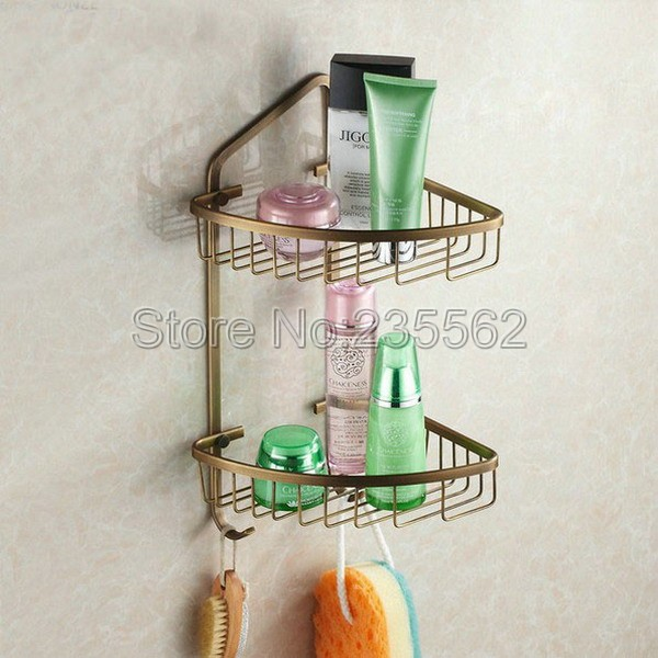 Free Shipping Wall Mounted Antique Brass Bathroom Accessories / Soap /Sponge Dual Tier Large Corner Shower Storage Basket Cba046Free Shipping Wall Mounted Antique Brass Bathroom Accessories / Soap /Sponge Dual Tier Large Corner Shower Storage Basket Cba046