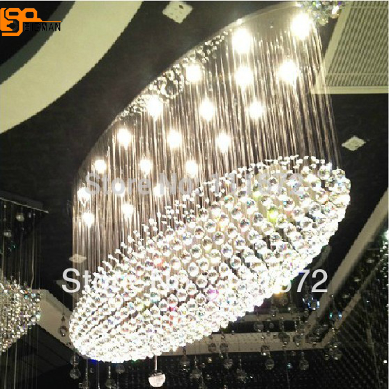 new large oval crystal chandelier lighting haning lamp modern crystal lamp hall lights roomble потолочный светильник evron oval metal frame chandelier