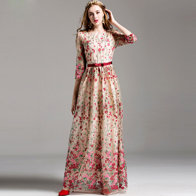 New 2017 Fashion Runway Maxi Dress Womens elegant 3/4 Sleeve Floral Embroidery Vintage Party Long Dress High Quality