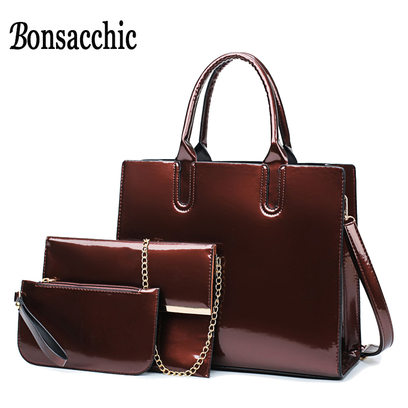 Bonsacchic 3pcs Red Patent Leather Tote Bag Purses and Handbags Luxury Handbags  Women Bags Designer Lady s 7a85c35a34