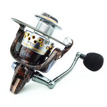 2017 New Metal Aluminum body Wood Grain Fishing Reel HA 14 BB Spiner Lure Bait Reel 5.2:1 Fishing Carp Reel Rod Combo