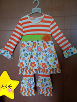 New Designs Winter Clothing Set 100% Cotton Flower Stripes Swing Top Giggle Moon Remake Baby Girls Wholesale Outfit F079