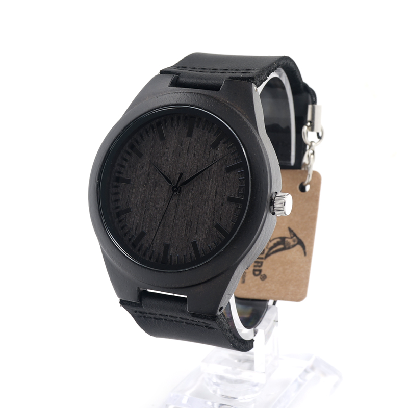 ФОТО BOBO BIRD D26 Men's Ebony Wooden Watch Fashion Luxury Casual Antique Clock as Best Gift for Men in Gift Box Accepct Customize