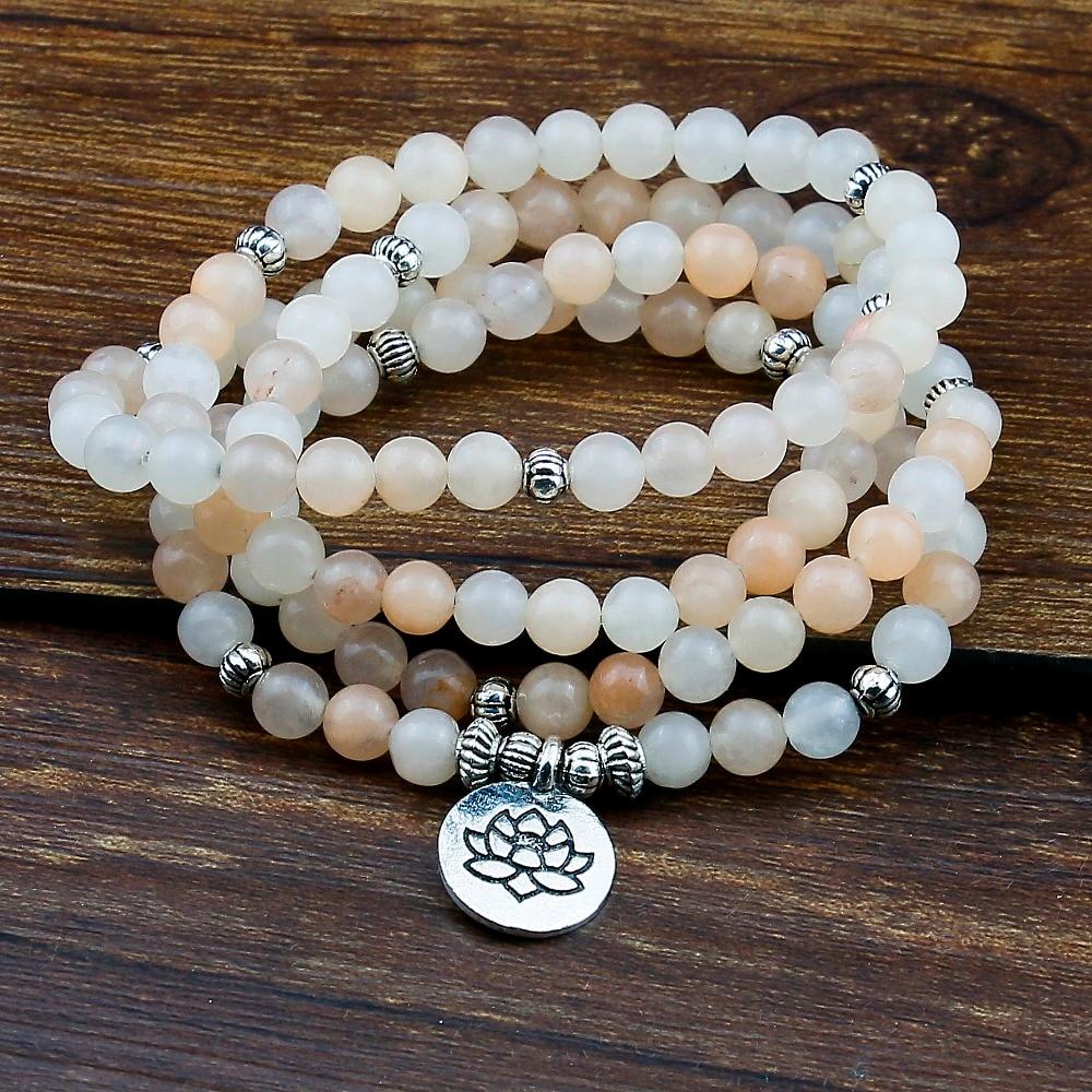 6mm 108 oración Mala pulsera Aventurina Rosa envuelto muñecas Lotus Charm pulsera para Unisex Buda Yoga joyería